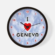 I Love Geneva (Red/Blk) Valentine Wall Clock