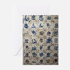 Antique Tile Art Grid Greeting Cards