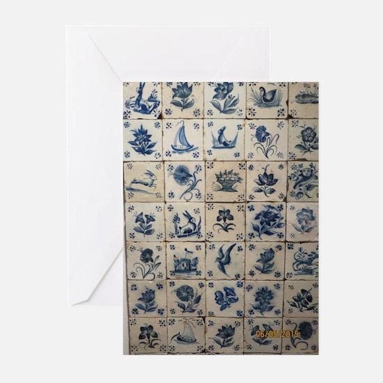Antique Tile Art Grid Greeting Cards (20)
