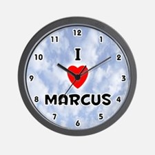 I Love Marcus (Black) Valentine Wall Clock