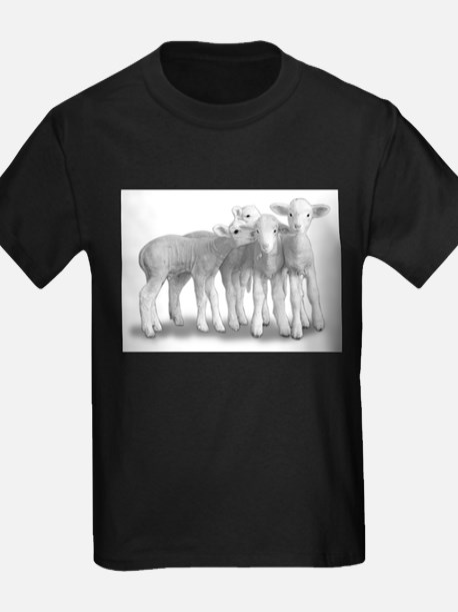 Ewephoric Whisper Lambs BW T-Shirt