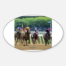 Cute Horse racing Sticker (Oval)