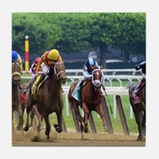 Funny Horse racing Tile Coaster