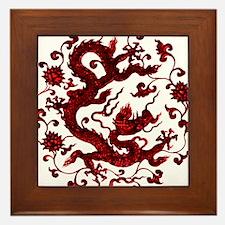 Chinese Red Dragon Framed Tile
