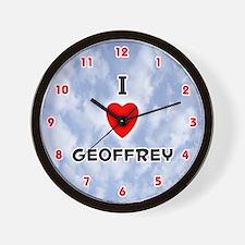 I Love Geoffrey (Red/Blk) Valentine Wall Clock