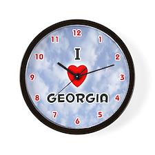 I Love Georgia (Red/Blk) Valentine Wall Clock