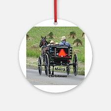 Amish Wagon Round Ornament