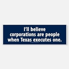Texas Executes Corporations Bumper Car Car Sticker