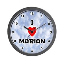 I Love Marian (Black) Valentine Wall Clock