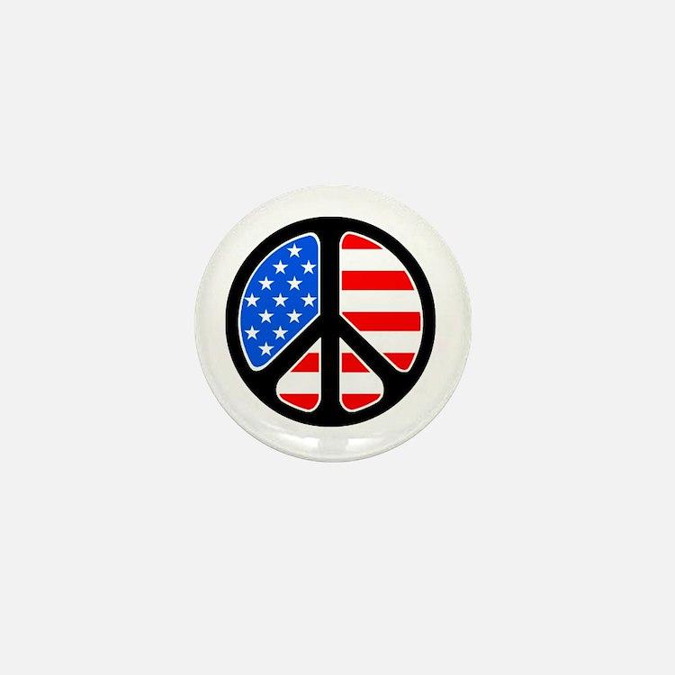 American Flag Peace Symbol Mini Button