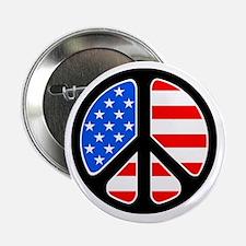 "American Flag Peace Symbol 2.25"" Button"