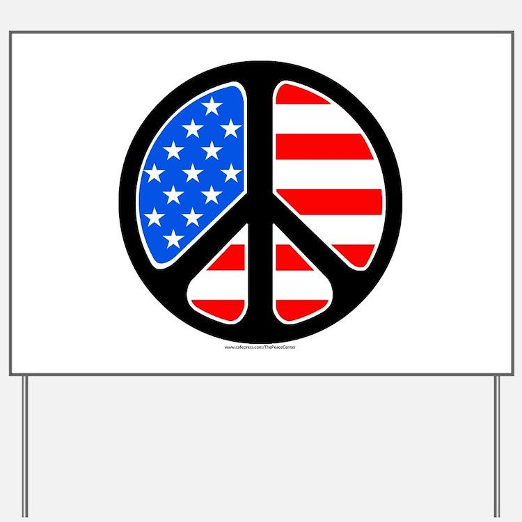 American Flag Peace Symbol Yard Sign