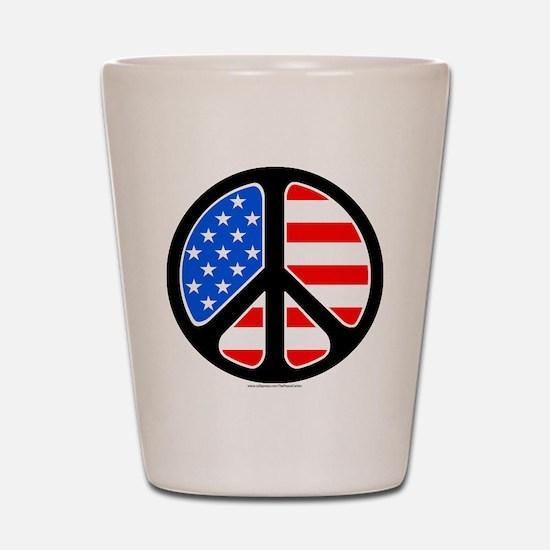 American Flag Peace Symbol Shot Glass