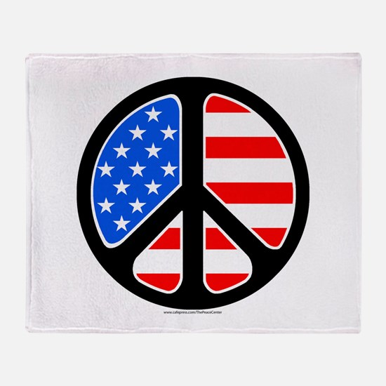 American Flag Peace Symbol Throw Blanket