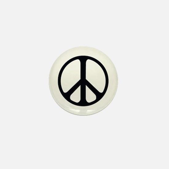 Black On White Peace Symbol Mini Button
