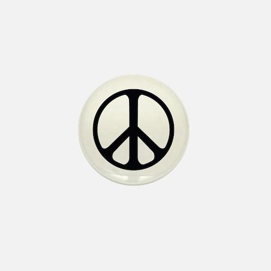 Black On White Peace Symbol Mini Button (10 Pack)