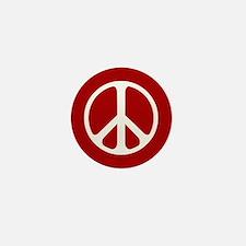 White On Red Peace Symbol Mini Button