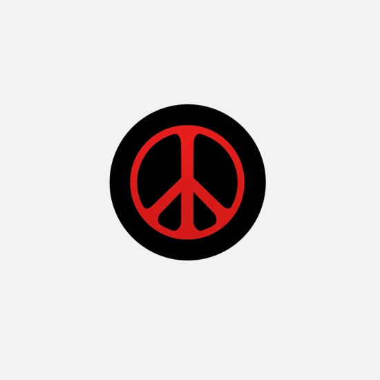 Red On Black Peace Symbol Mini Button