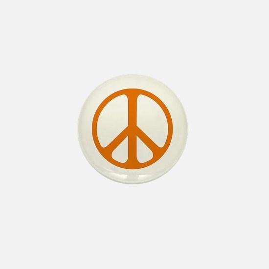 Orange On White Peace Symbol Mini Button