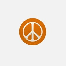 White On Orange Peace Symbol Mini Button