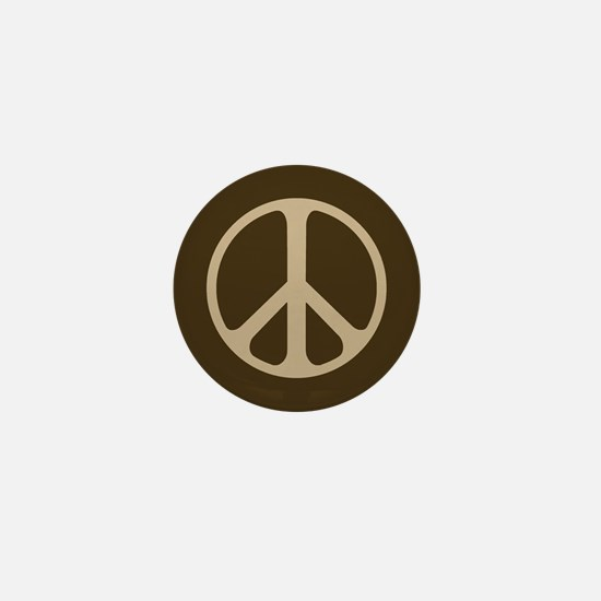 Tan On Brown Peace Symbol Mini Button (10 Pack)