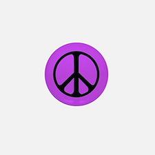 Black On Purple Peace Symbol Mini Button