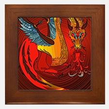 Cool Red dragon fire Framed Tile