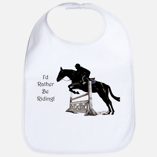 Cute Id Rather Be Riding Horse Baby Bib