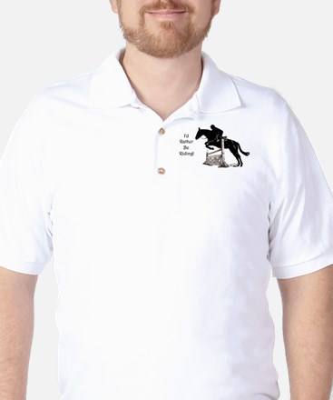 Cute Id Rather Be Riding Horse Golf Shirt