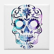 Blue & Purple Sugar Skull Tile Coaster