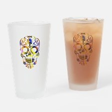 Blue & Yellow Sugar Skull Drinking Glass