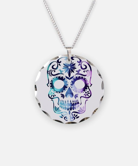 Blue & Purple Sugar Skull Necklace Circle Charm