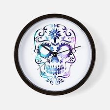 Blue & Purple Sugar Skull Wall Clock