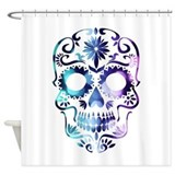 Blue and purple sugar skull Shower Curtains