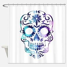 Blue & Purple Sugar Skull Shower Curtain