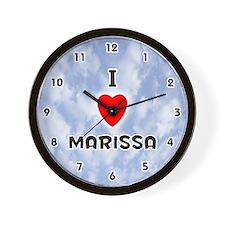 I Love Marissa (Black) Valentine Wall Clock
