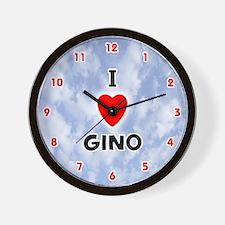 I Love Gino (Red/Blk) Valentine Wall Clock