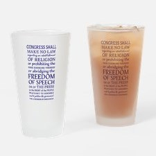 Freedom of Speech First Amendment Drinking Glass