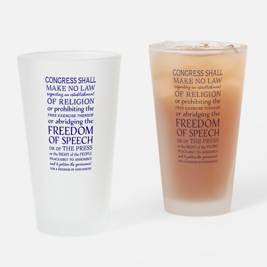 Freedom of Speech First Amendment Drinking Glass
