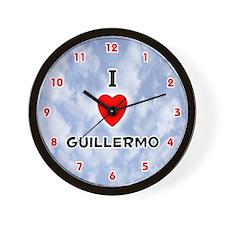 I Love Guillermo (Red/Blk) Valentine Wall Clock
