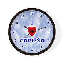 I Love Carissa (Blue) Valentine Wall Clock