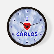 I Love Carlos (Blue) Valentine Wall Clock