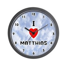 I Love Matthias (Black) Valentine Wall Clock