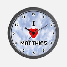 I Love Matthias (Black) Valentine Wall Clock