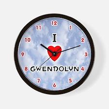 I Love Gwendolyn (Red/Blk) Valentine Wall Clock