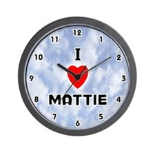 I Love Mattie (Black) Valentine Wall Clock