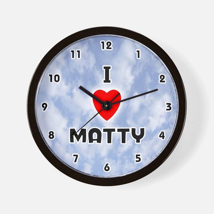 I Love Matty (Black) Valentine Wall Clock