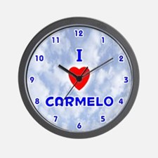 I Love Carmelo (Blue) Valentine Wall Clock