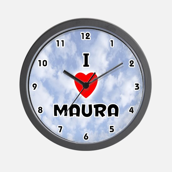 I Love Maura (Black) Valentine Wall Clock