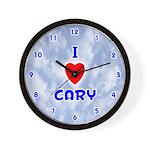 I Love Cary (Blue) Valentine Wall Clock